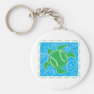 Softball de la playa de la tortuga llavero redondo tipo pin