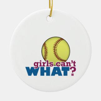 Softball de los chicas adorno navideño redondo de cerámica