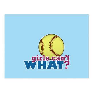 Softball de los chicas tarjeta postal
