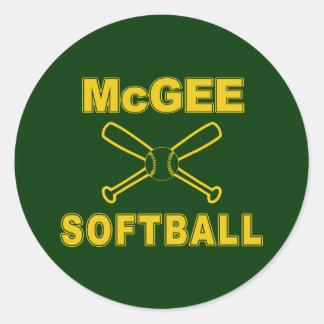 Softball de McGee Pegatina Redonda