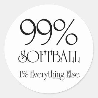 Softball del 99% pegatina redonda