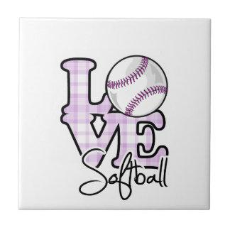 Softball del amor azulejo cuadrado pequeño