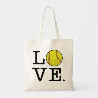 Softball del amor bolsa tela barata