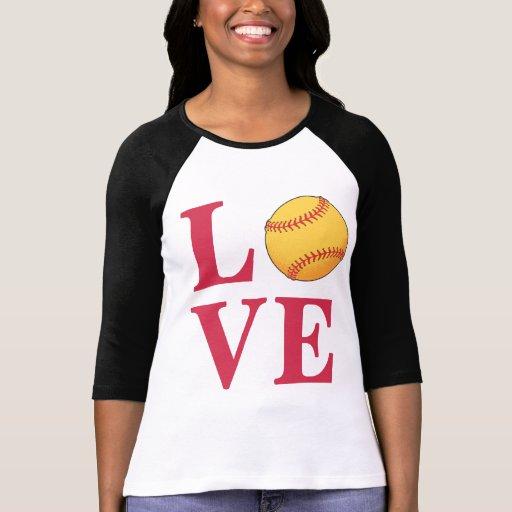 Softball del amor camisetas