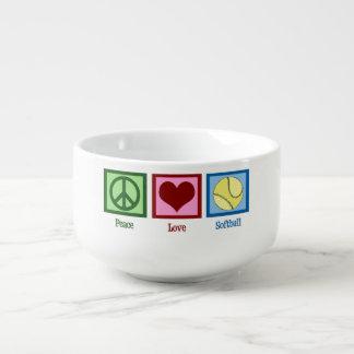Softball del amor de la paz bol para sopa