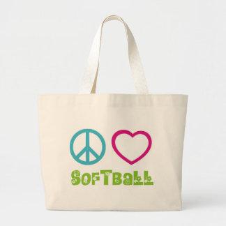Softball del amor de la paz bolsa de tela grande