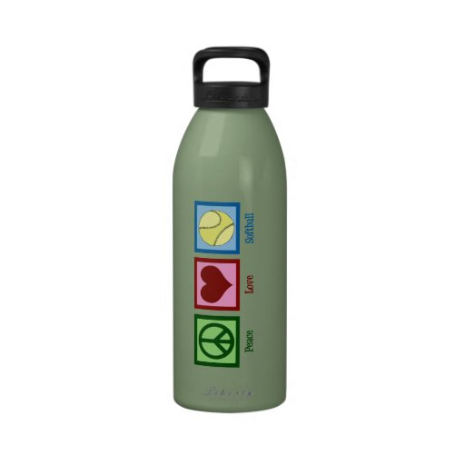 Softball del amor de la paz botella de beber