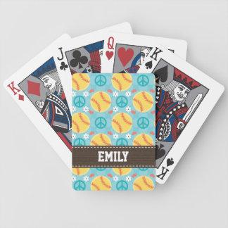 Softball del amor de la paz baraja cartas de poker