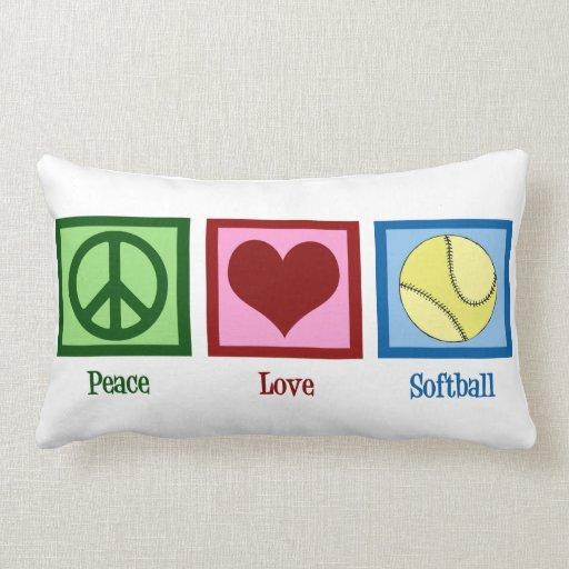 Softball del amor de la paz cojines