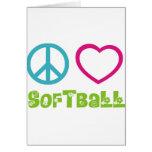 Softball del amor de la paz felicitacion