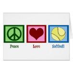 Softball del amor de la paz felicitación