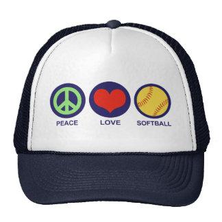 Softball del amor de la paz gorras de camionero