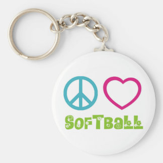 Softball del amor de la paz llavero redondo tipo pin