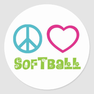 Softball del amor de la paz pegatina redonda