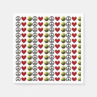 Softball del amor de la paz servilletas desechables