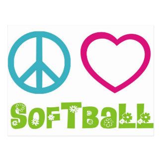 Softball del amor de la paz tarjeta postal