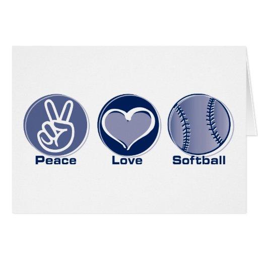 Softball del amor de la paz tarjetón
