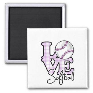 Softball del amor imán cuadrado
