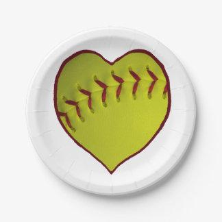Softball del amor plato de papel de 7 pulgadas