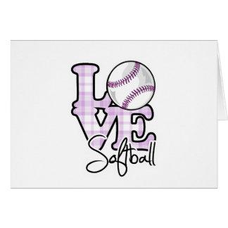 Softball del amor tarjeta de felicitación