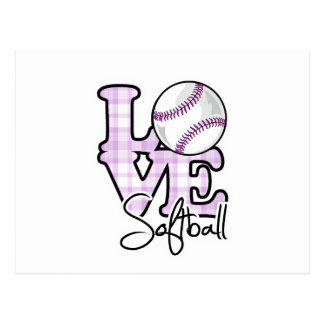 Softball del amor tarjeta postal