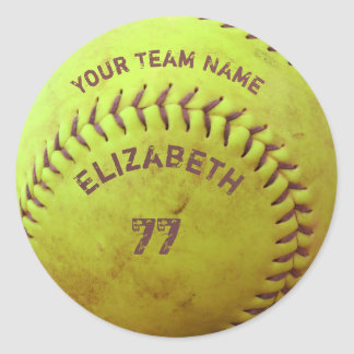 Softball Dirty Name Team Number Ball Sticker
