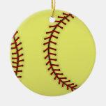 Softball Double-Sided Ceramic Round Christmas Ornament