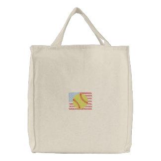Softball Embroidered Tote Bag