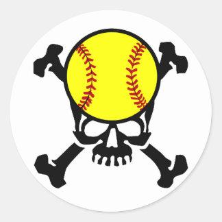Softball en el cráneo del cerebro pegatinas redondas
