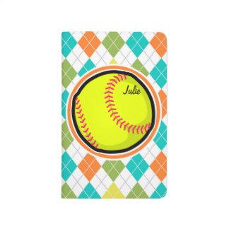 Softball en el modelo colorido de Argyle Cuaderno