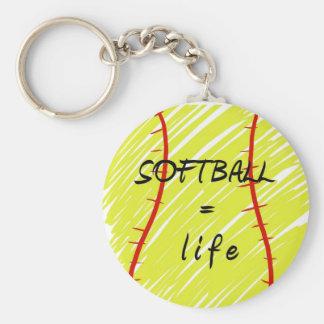 softball_equals_life basic round button keychain