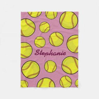 Softball Fan Custom Name Pink Fleece Blanket