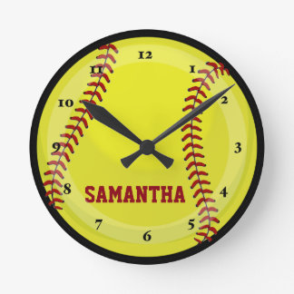 Softball Fan Round Clock