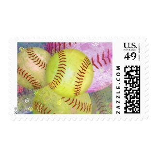 Softball femenino sucio sellos