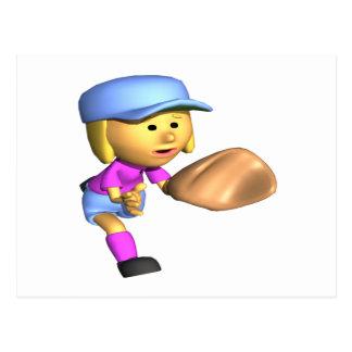 Softball Fielder Postcard