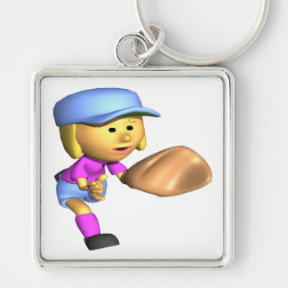 Softball Fielder Silver-Colored Square Keychain