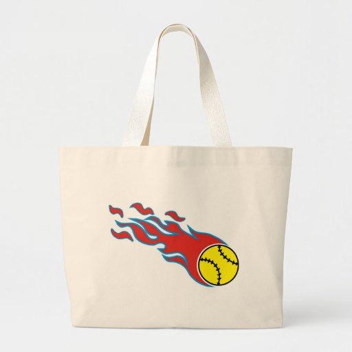 Softball fireball tote bags