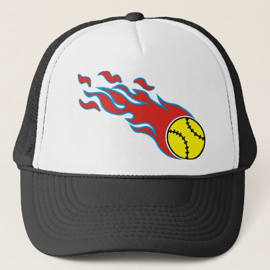 Softball fireball trucker hat