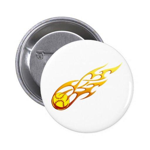 Softball Flame Pinback Buttons