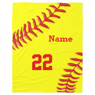 Softball Fleece Blankets with NAME and NUMBER