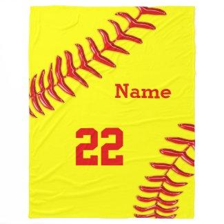 Softball Fleece Blankets with NAME and NUMBER Fleece Blanket