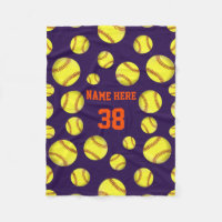 Softball Fleece Throw Blankets, Your COLORS, TEXT