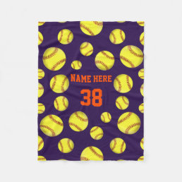 Softball Fleece Throw Blankets, Your COLORS, TEXT