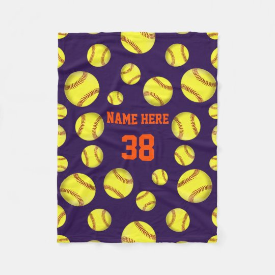 Softball Fleece Throw Blankets Your COLORS TEXT Zazzle Magnificent Softball Throw Blanket