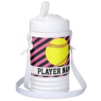 Softball Fuchsia Pink Custom Text Team & Player Cooler