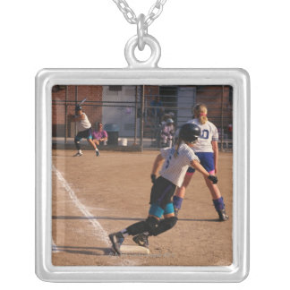 Softball game square pendant necklace