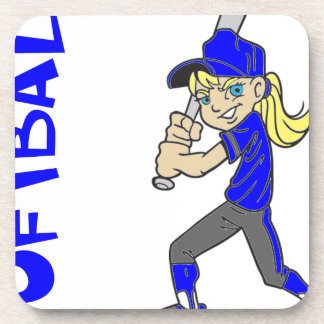 SOFTBALL GIRL BAT BEVERAGE COASTER
