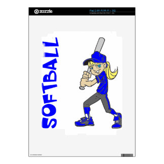 SOFTBALL GIRL BAT DECAL FOR iPad 2