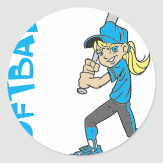 SOFTBALL GIRL BAT TEXT CLASSIC ROUND STICKER