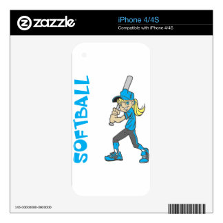 SOFTBALL GIRL BAT TEXT DECALS FOR iPhone 4